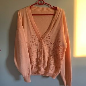 Vintage Peach Sweater Cardigan